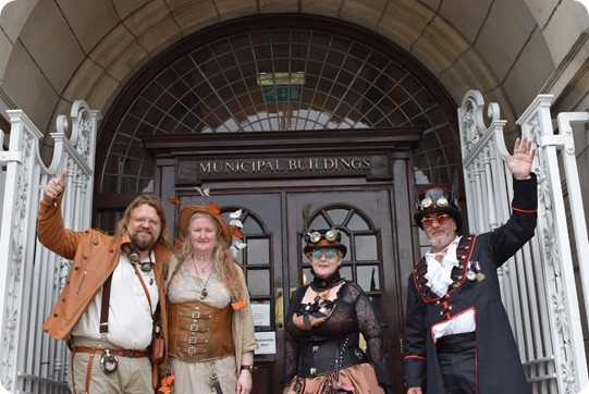 Steampunk visitors outside Municipal Buildings Crewe