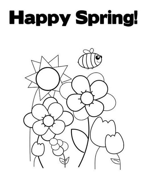 Happy Spring Coloring Pages For Kids
