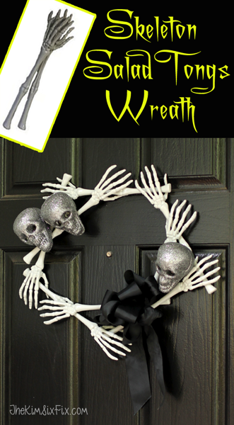Skeleton Salad Tongs Wreath