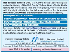 HLL Lifecare Limited Advertisement 2016