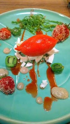 Seascape Strawberries, aqua faba, lemon filbert cream, sorrel, hardy kiwis