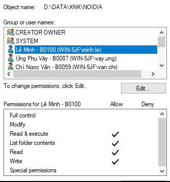Một số lưu ý về vấn đề phân quyền thư mục trong Windows Server