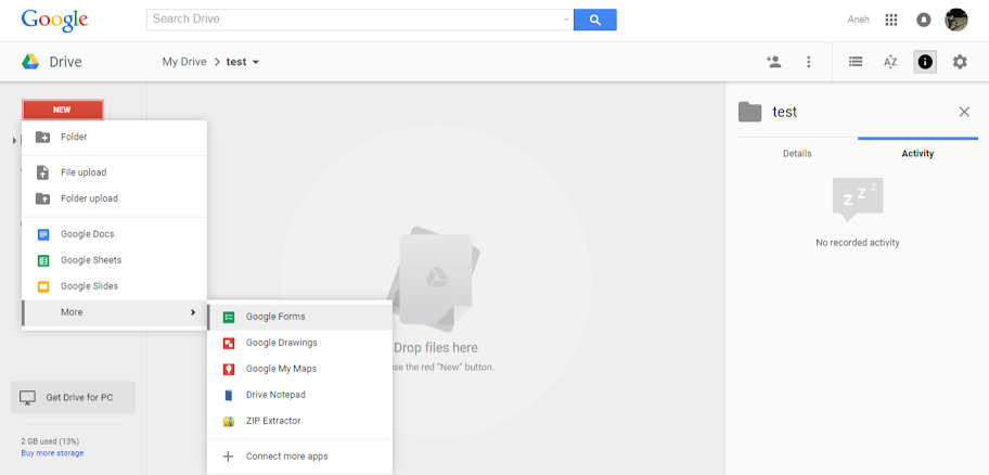 Create web form using google drive