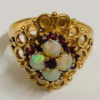 14K Gold, Opal & Ruby Ring
