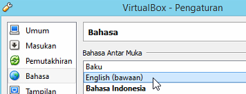 Mengubah bahasa virtualbox