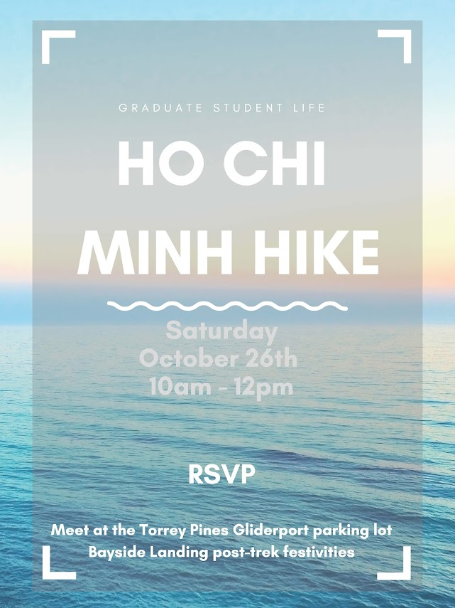 Ho Chi Minh Hike, Oct 26 at 10am, meet at the Torrey Pines Gliderport parking lot