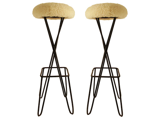 Maison Gerard, French Mid-Century Modern Hairpin Bar Stool Pair(2)