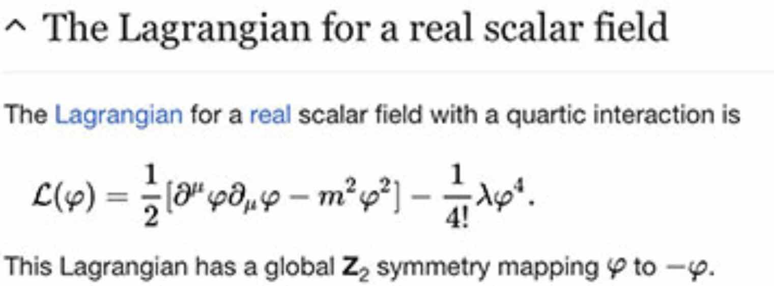 Lagrangians for real fields is used in emerging theories of gravity (Source: Wikipedia)