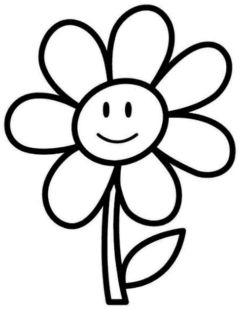 Coloring Pages Flowers With Big Flower Free Printable For Kids