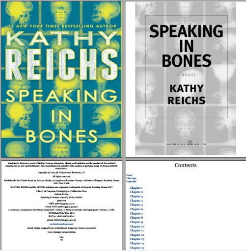 Speaking In Bones Kathy Reichs book