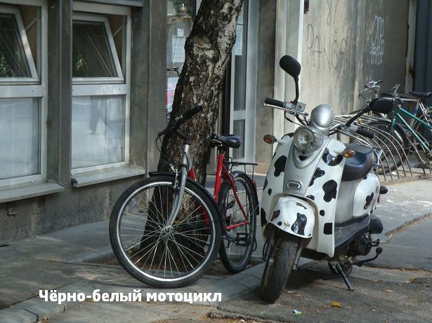 черно-белый мотоцикл