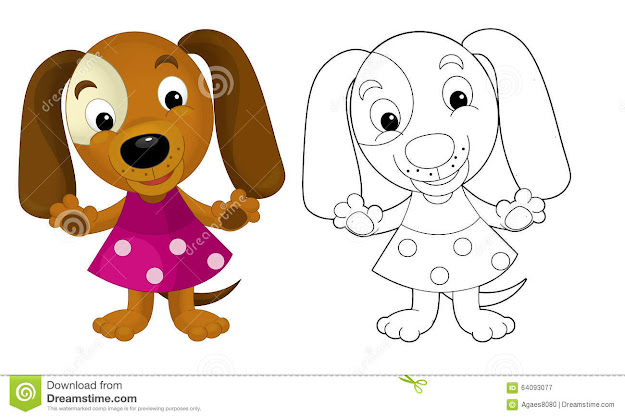 Cartoon Girl Dog  Coloring Page With Preview Royalty Free Stock Photography
