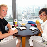 dinner time with Fumie at the Shiodome top floor - I look terrible in Shinagawa, Tokyo, Japan