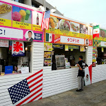 world food court with dishes from the USA, Mexico, Jamaica, Brazil and many more in Shibuya, Tokyo, Japan