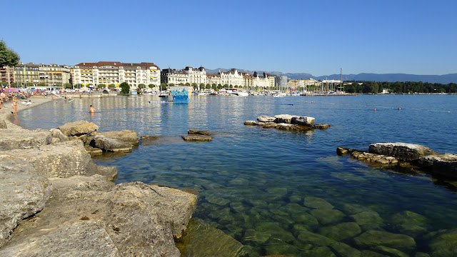 bains des paquis during summer in Geneva in Geneva, Geneva, Switzerland