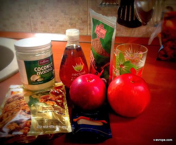 яблоки, сироп агавы, коксовая манна