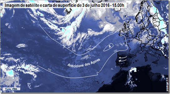 Imagem de satélite e carta de superfície de 3 de julho 2016 - 15.00h