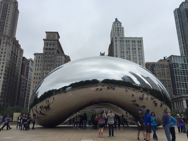 Cloud Gate, or The Bean in Milennium Park in Chicago is one of the most well known tourist spots in the city