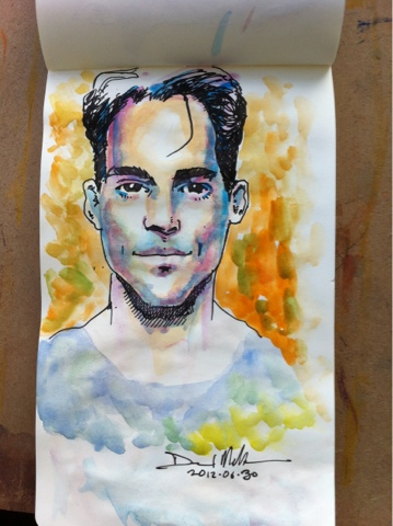 Pen and watercolour sketch of male model by David Meldrum