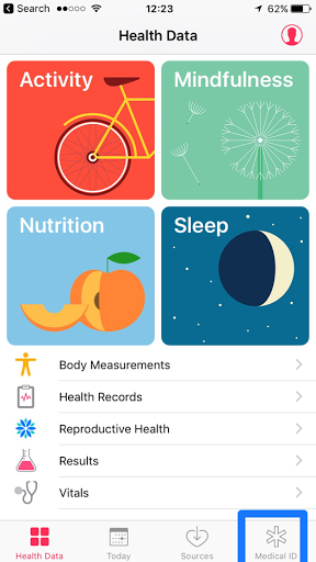 health app home page - medical id bottom right