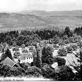 Das Kurhaus umgeben von Wald, weit und breit noch keine Nachbarhäuser