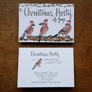 Christmas Party (of Jays) :: www.AliceDrawsTheLine.co.uk