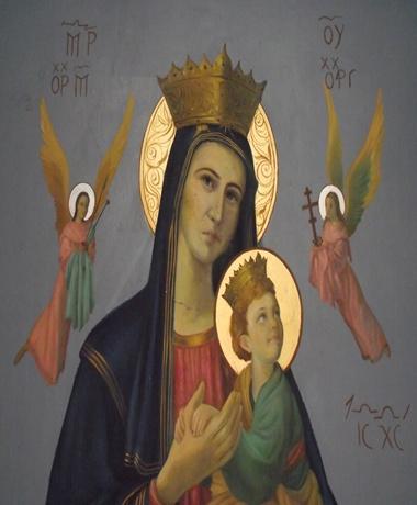 Nossa Senhora do Perpétuo Socorro - quadro que reproduz o quadro original, cuja pintura está em estilo bizantino.