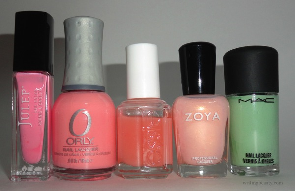 Spring 2016 nail polish favourites Julep Reese Orly Cotton Candy Essie Pink Glove Service Zoya Erika MAC Peppermint Patti