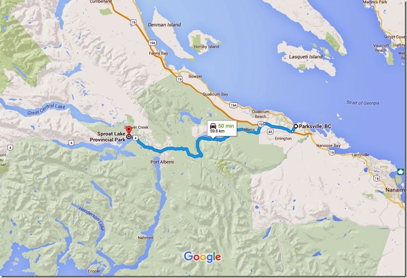 Parksville, BC to Sproat Lake Provincial Park - Google Maps