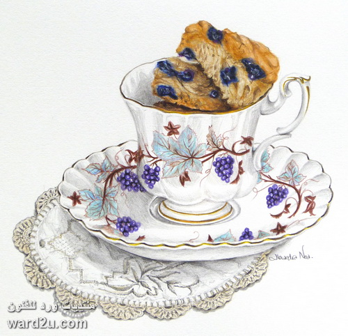 ادوات سفرة اسكتشات ملونة للفنانة Alexandra Nea