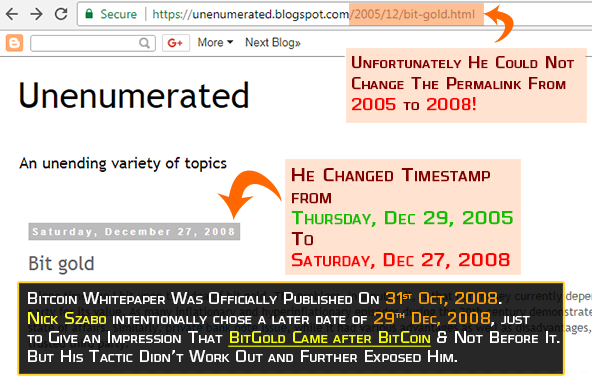 How Nick Szabo changed timestamps on his bitgold blog