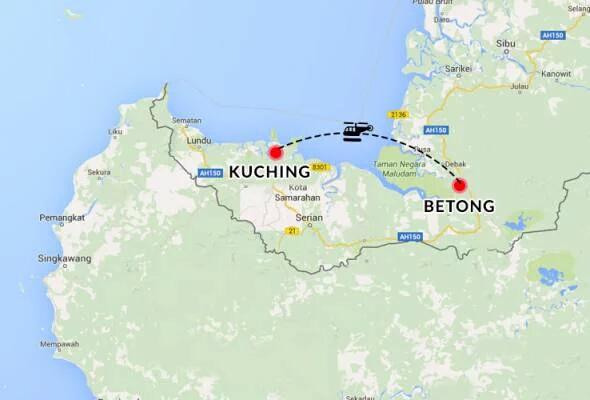 Sebuah helikopter dipercayai membawa VIP dilapor hilang dari radar di Sarawak petang tadi