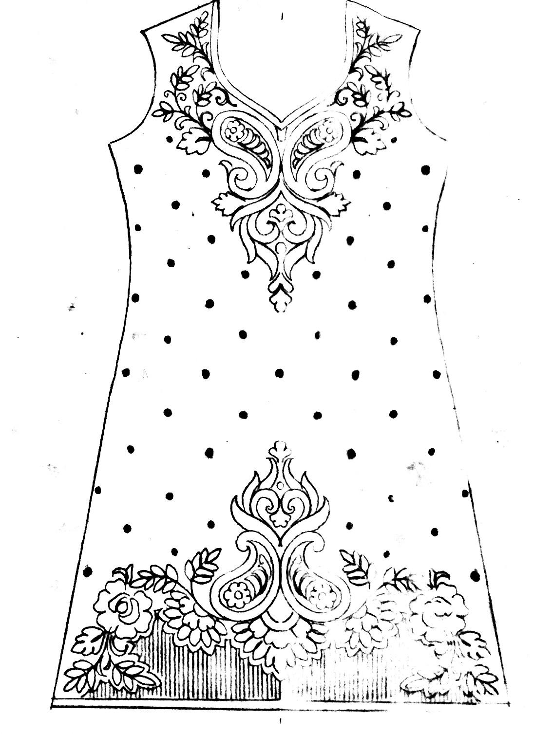 Essay Drawing tutorial for hand emroidery dress design /ladies suit design patterns pencil sketch for fashion designer.