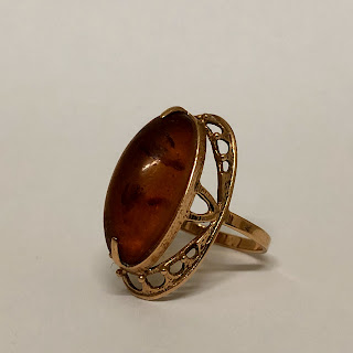 14K Gold and Amber Ring