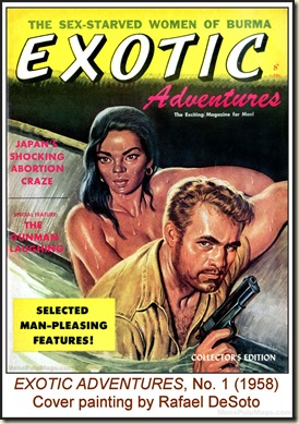 EXOTIC ADVENTURES,  V1 N1 (1958) - Cover by Rafael DeSoto wm