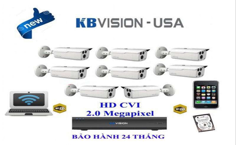 bo 8 mat camera kbvision chuyen lap cho nha xuong Bộ 8 Camera lắp đặt nhà xưởng HDCVI 2.0 Megepixel