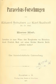 Cover of Eduard Schubert's Book Paracelsus Forschungen (in German)