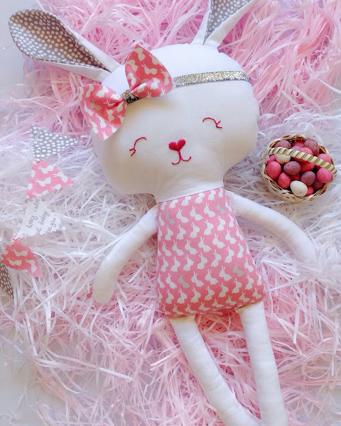 Easter Bunny Doll with Silver Headband by Rhapsody and Thread