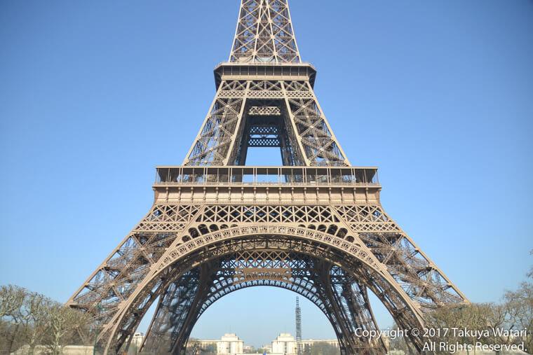 昼のエッフェル塔を正面から