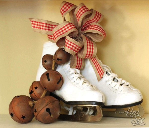 Ice skates with ribbons and bells for christmas