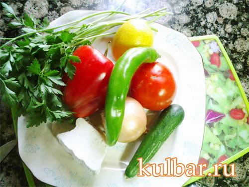 ингредиенты для салата из помидоров с брынзой