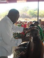 Dr. Kirumbi removing a dressing