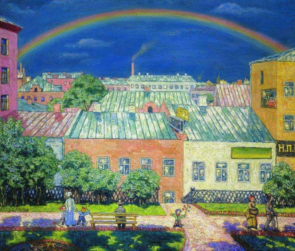 Nikolay Krymov - Moscow landscape. Rainbow. 1908
