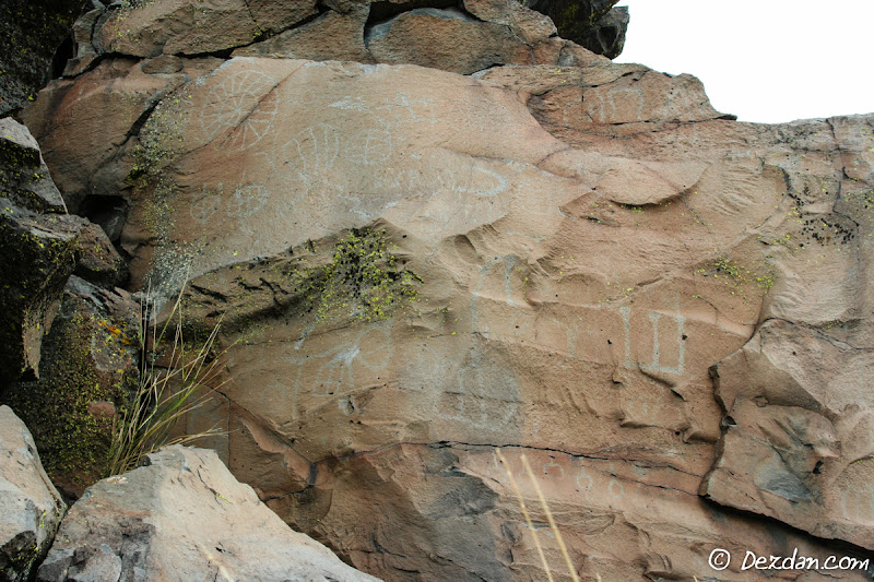 Another large panel of petroglyphs.