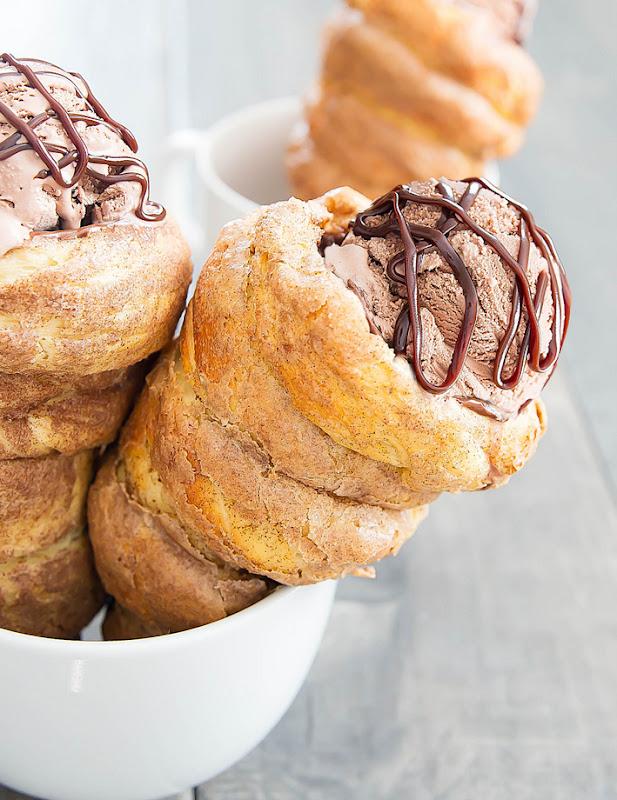 photo of two Doughnut Ice Cream Cones