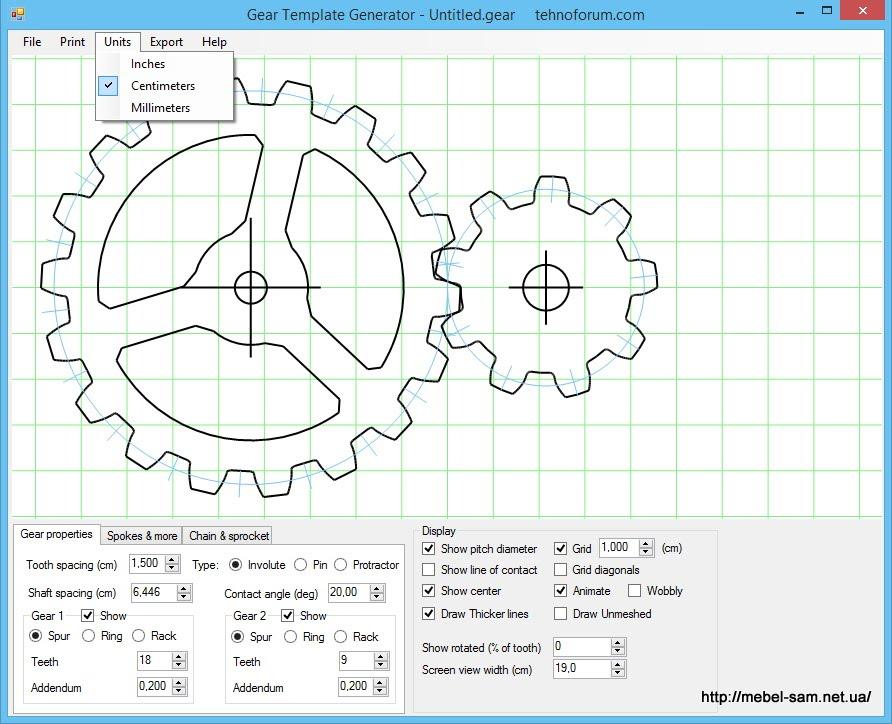 GEAR TEMPLATE GENERATOR - программа построения шестеренок с заданной ...