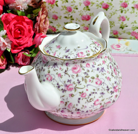 Delicate Pink Roses Pattern on White China 2 Pint Teapot