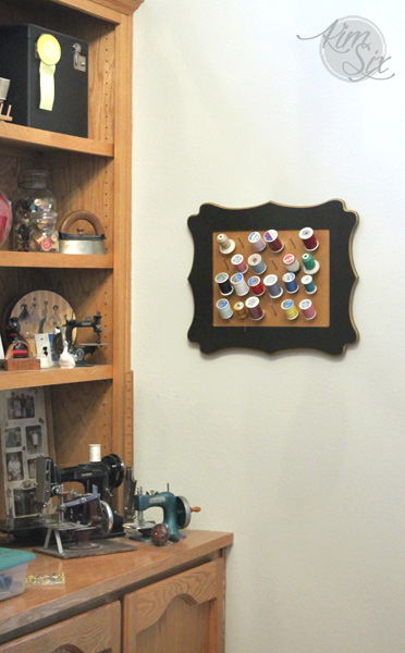 Framed Wall spool organizer