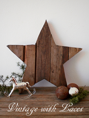 Upcycled Pallet Wood Star by Vintage with Laces