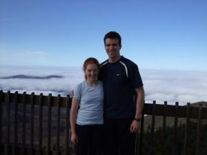 Owen and Katy atop Cannon Mountain